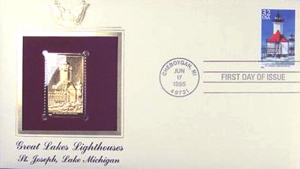 #2970 32¢ Great Lakes Lighthouses: St. Joseph, Lake Michigan - Gold-Foil First Day Cover