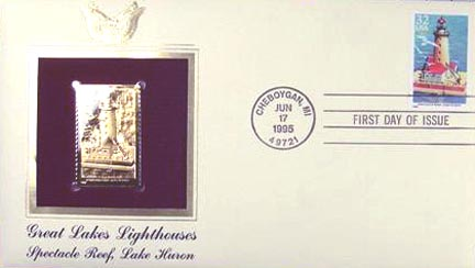 #2971 32¢ Great Lakes Lighthouses: Spectacle Reef, Lake Huron - Gold-Foil First Day Cover