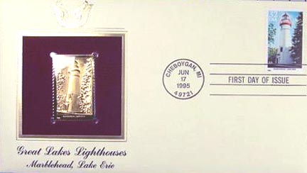 #2972 32¢ Great Lakes Lighthouses: Marblehead, Lake Erie - Gold-Foil First Day Cover