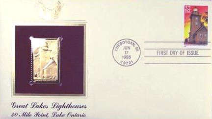 #2973 32¢ Great Lakes Lighthouses: Thirty Mile Point, Lake Ontario - Gold-Foil First Day Cover