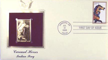 #2977 32¢ Carousel Horses: Pinto Pony - Gold-Foil First Day Cover
