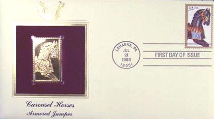 #2978 32¢ Carousel Horses: Armored Jumper - Gold-Foil First Day Cover