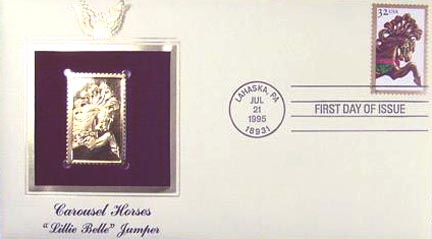 #2979 32¢ Carousel Horses: Brown Jumper - Gold-Foil First Day Cover