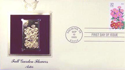 #2993 32¢ Garden Flowers: Aster - Gold-Foil First Day Cover