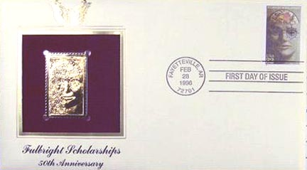 #3065 32¢ Fulbright Scholarships - Gold-Foil First Day Cover
