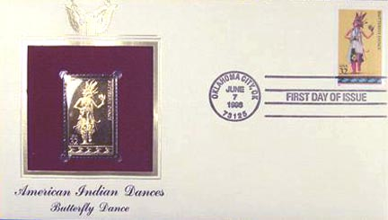 #3073 32¢ American Indian Dances: Butterfly - Gold-Foil First Day Cover