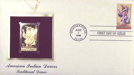 #3074 32¢ American Indian Dances: Traditional - Gold-Foil First Day Cover