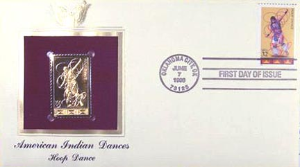 #3076 32¢ American Indian Dances: Hoop - Gold-Foil First Day Cover