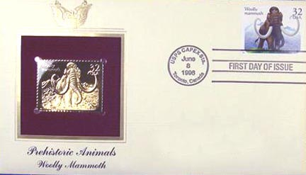 #3078 32¢ Prehistoric Animals: Mammoth - Gold-Foil First Day Cover