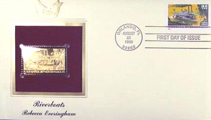 #3094 32¢ Riverboats: Rebecca Everingham - Gold-Foil First Day Cover