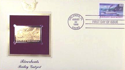#3095 32¢ Riverboats: Bailey Gatzert - Gold-Foil First Day Cover