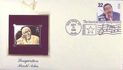 #3100 32¢ Songwriters: Harold Arlen - Gold-Foil First Day Cover