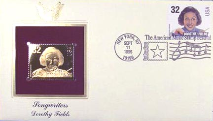 #3102 32¢ Songwriters: Dorothy Fields - Gold-Foil First Day Cover