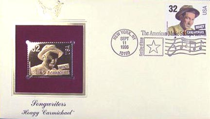 #3103 32¢ Songwriters: Hoagy Carmichael - Gold-Foil First Day Cover