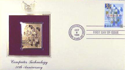 #3106 32¢ Computer Technology - Gold-Foil First Day Cover
