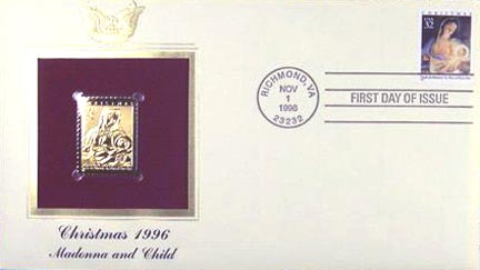 #3107 32¢ Madonna and Child - Gold-Foil First Day Cover