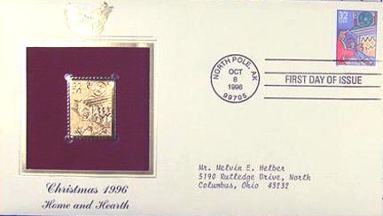 #3108 32¢ Family Scenes: Fireplace - Gold-Foil First Day Cover