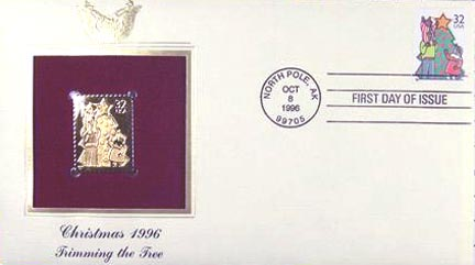 #3109 32¢ Family Scenes: Christmas Tree - Gold-Foil First Day Cover