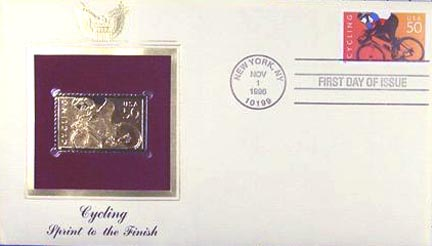 #3119a 50¢ Cycling - 50c orange and multi - Gold-Foil First Day Cover