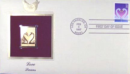 #3123 32¢ Love Swans - Gold-Foil First Day Cover