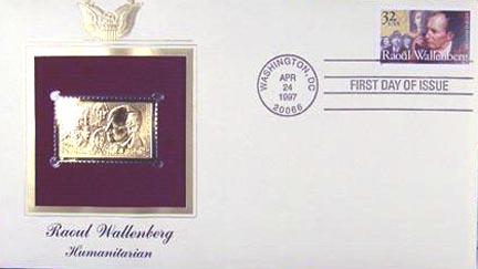 #3135 32¢ Raoul Wallenberg - Gold-Foil First Day Cover