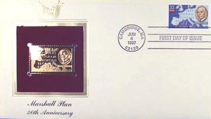 #3141 32¢ The Marshall Plan - Gold-Foil First Day Cover