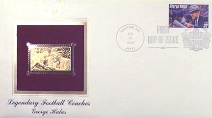 #3146 32¢ George Halas - Gold-Foil First Day Cover