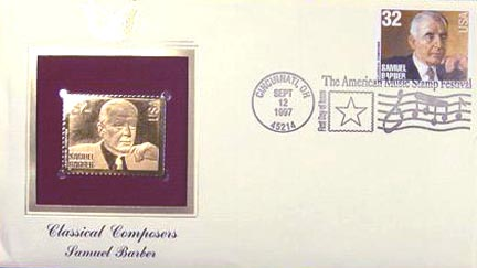 #3162 32¢ Composers: Samuel Barber - Gold-Foil First Day Cover