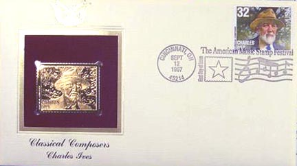 #3164 32¢ Composers: Charles Ives - Gold-Foil First Day Cover
