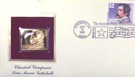 #3165 32¢ Composers: Louis Moreau Gottschalk - Gold-Foil First Day Cover