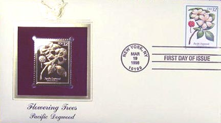 #3197 32¢ Flowering Trees: Pacific Dogwood - Gold-Foil First Day Cover