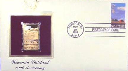 #3206 32¢ Wisconsin Statehood - Gold-Foil First Day Cover
