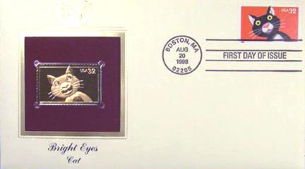 #3232 32¢ Bright Eyes: Cat - Gold-Foil First Day Cover