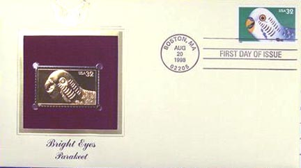 #3233 32¢ Bright Eyes: Parakeet - Gold-Foil First Day Cover