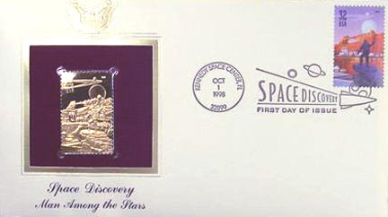 #3240 32¢ Space Discovery: Person in Suit - Gold-Foil First Day Cover