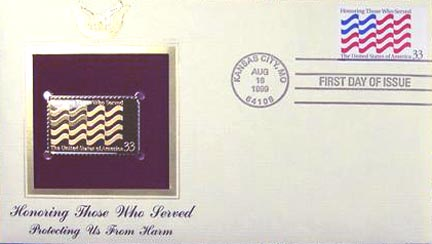 #3331 33¢ Honoring Those Who Served - Gold-Foil First Day Cover