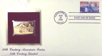 #3335 33¢ All Aboard!: 20th Century Limited - Gold-Foil First Day Cover