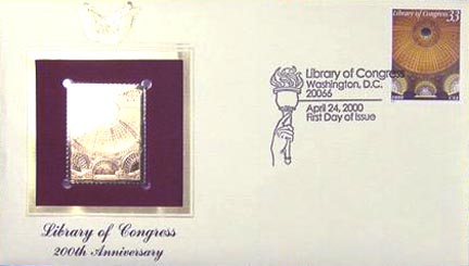 #3390 33¢ Interior Dome - Jefferson Buil - Gold-Foil First Day Cover