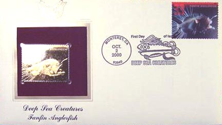 #3439 33¢ Deep Sea Creatures: Anglerfish - Gold-Foil First Day Cover