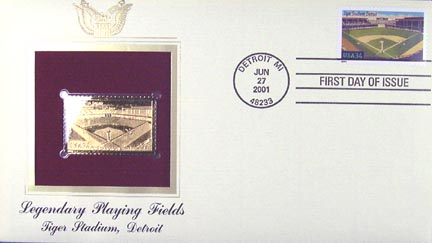 #3511 34¢ Tiger Stadium - Gold-Foil First Day Cover