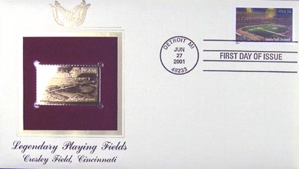 #3512 34¢ Crosley Field - Gold-Foil First Day Cover