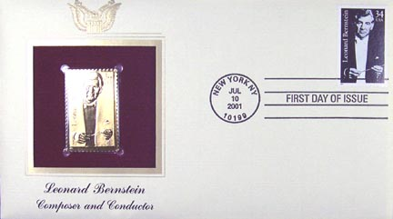 #3521 34¢ Leonard Bernstein, Conductor - Gold-Foil First Day Cover
