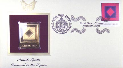#3524 34¢ Amish Quilts : red border - Gold-Foil First Day Cover