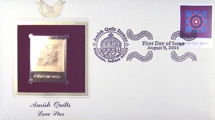 #3525 34¢ Amish Quilts : maroon border - Gold-Foil First Day Cover