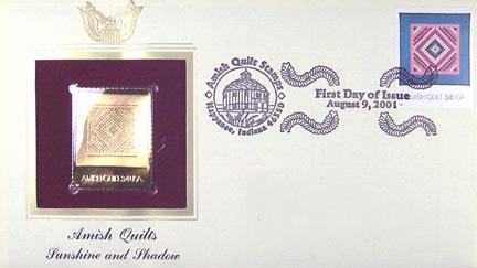 #3526 34¢ Amish Quilts : green border - Gold-Foil First Day Cover