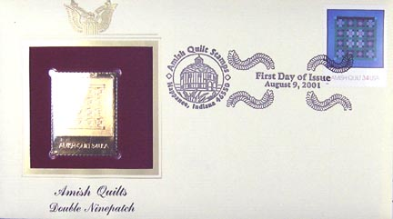 #3527 34¢ Amish Quilts : purple border - Gold-Foil First Day Cover