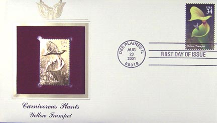 #3529 34¢ Carnivorous Plants : Yellow Trumpet - Gold-Foil First Day Cover