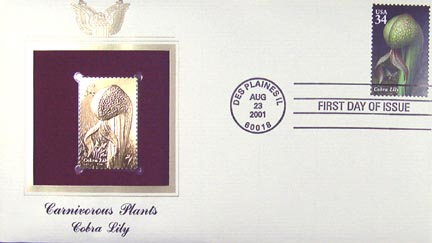 #3530 34¢ Carnivorous Plants : Cobra Lily - Gold-Foil First Day Cover