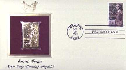 #3533 34¢ Enrico Fermi, atomic physicist - Gold-Foil First Day Cover