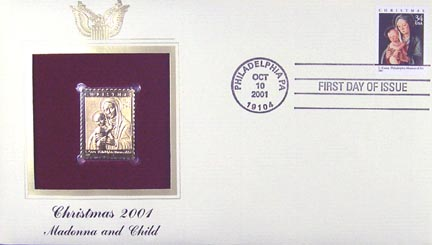 #3536 34¢ Christmas : Madonna and Child by Lorenzo Costa - Gold-Foil First Day Cover